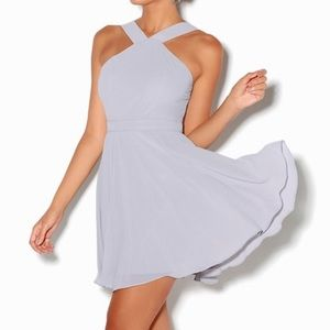 LULUS GREY FOREVERMORE SKATER DRESS